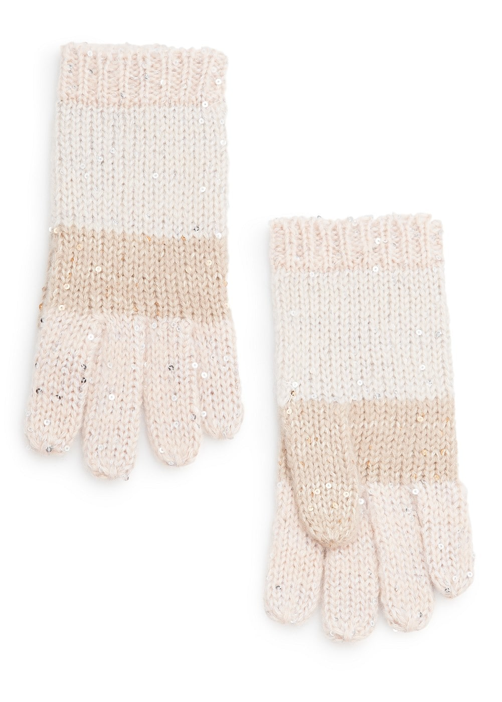 Sequined striped gloves | MANGO