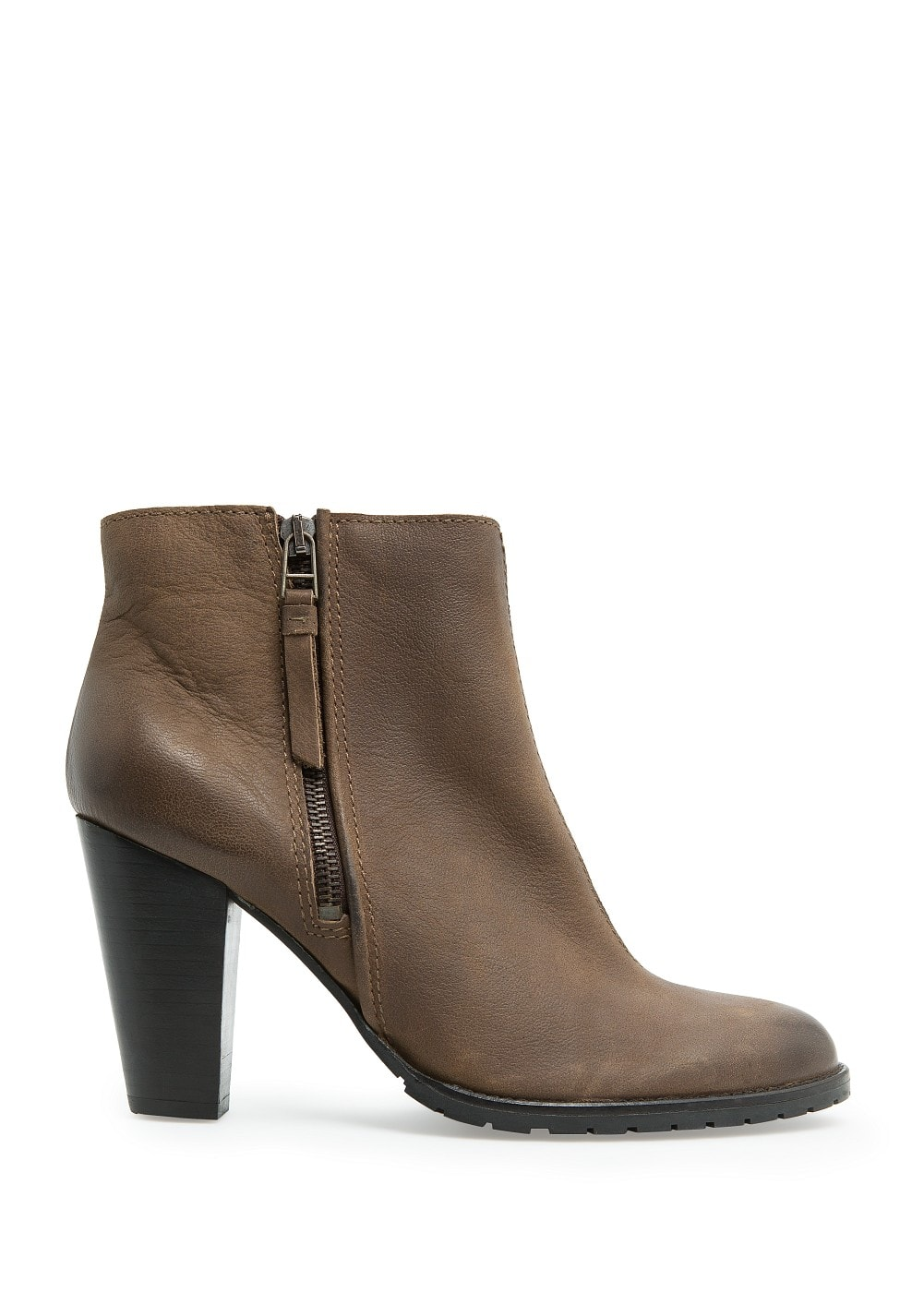 Wooden heel leather ankle boots