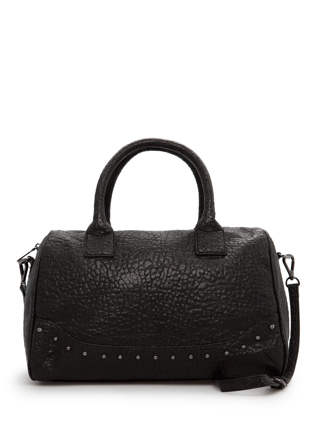 Studded pebbled bowling bag