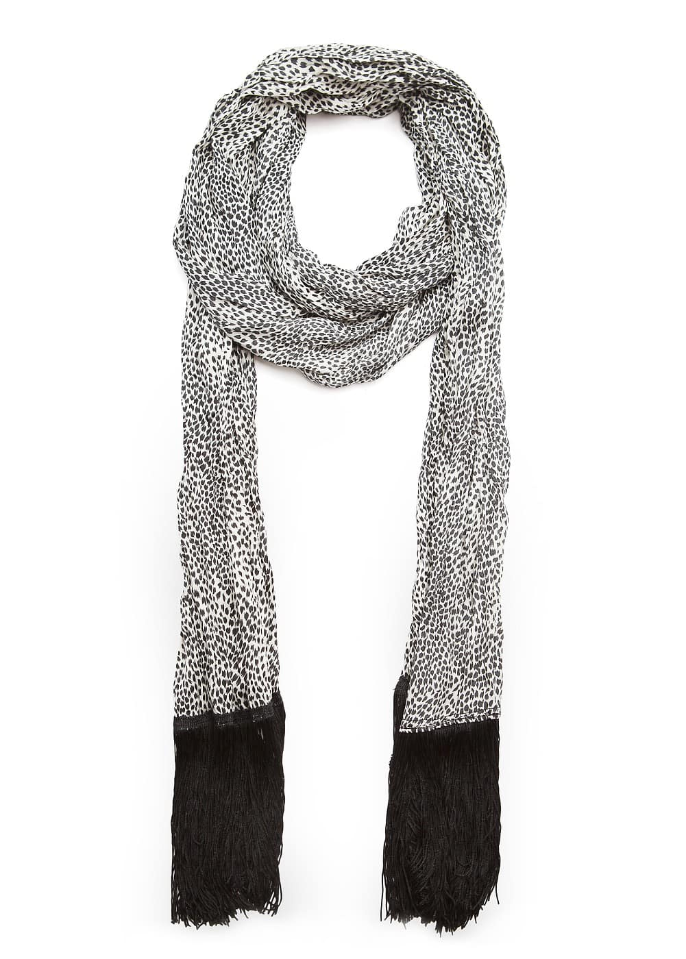 Animal print fringed scarf | MANGO