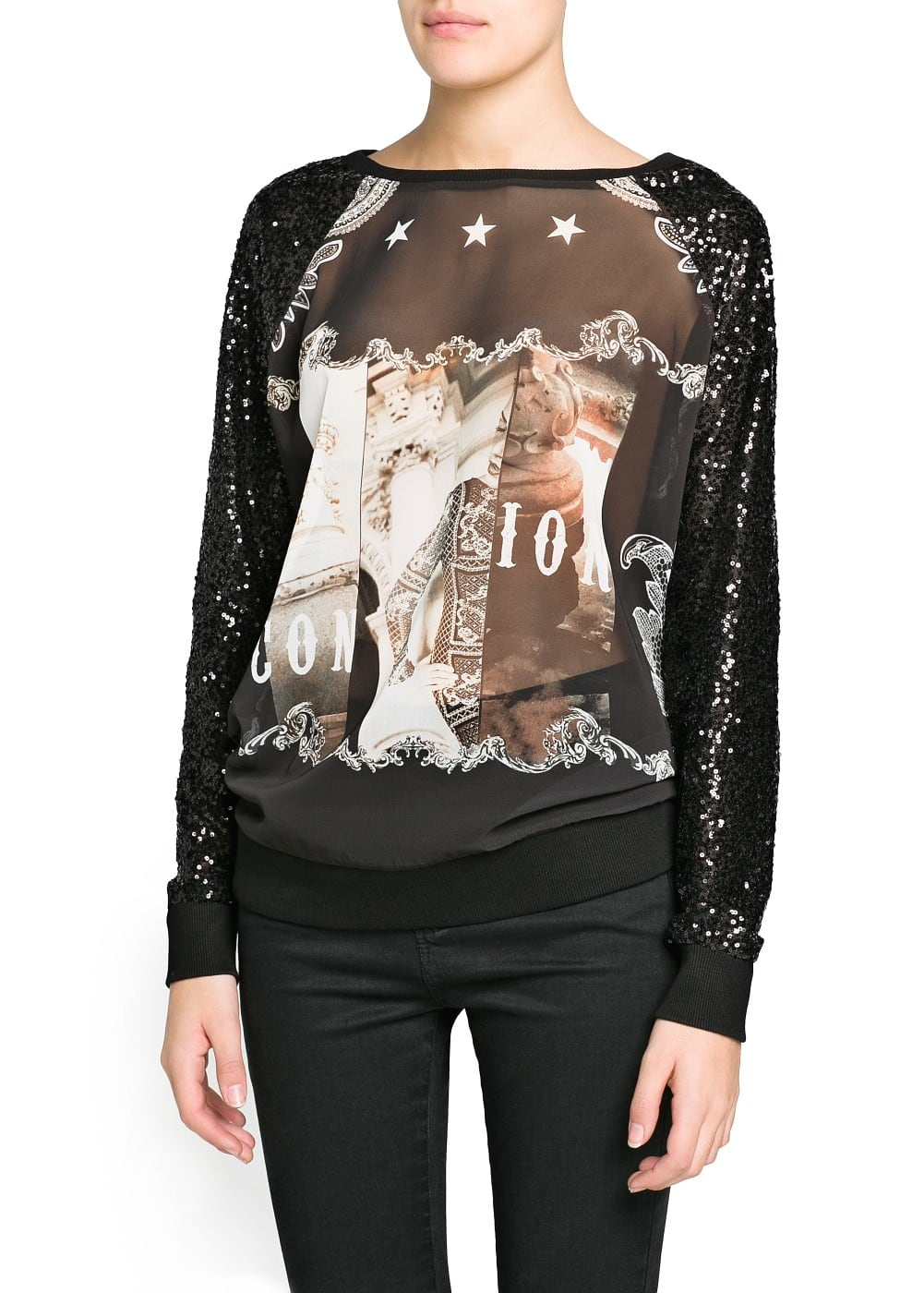 Sequined sleeve printed sweatshirt