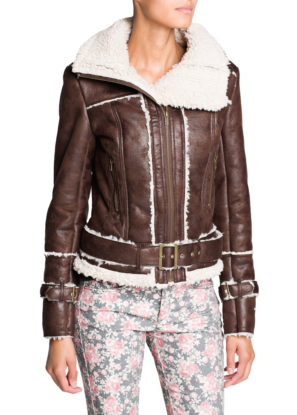 Belted faux shearling jacket | MANGO