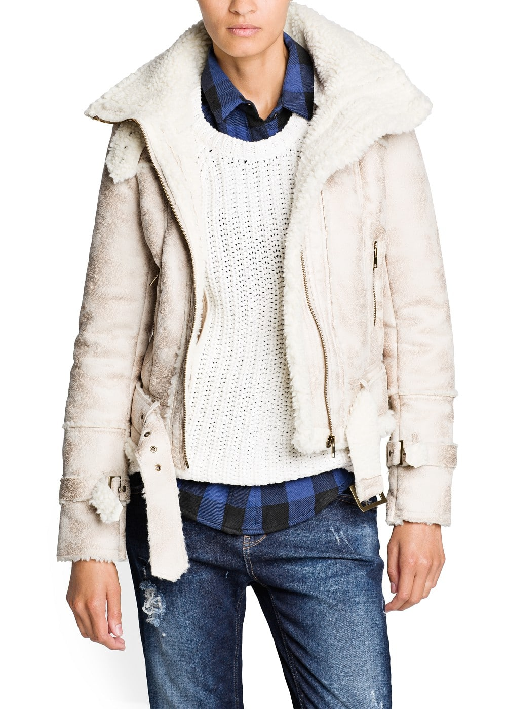 Belted faux shearling jacket