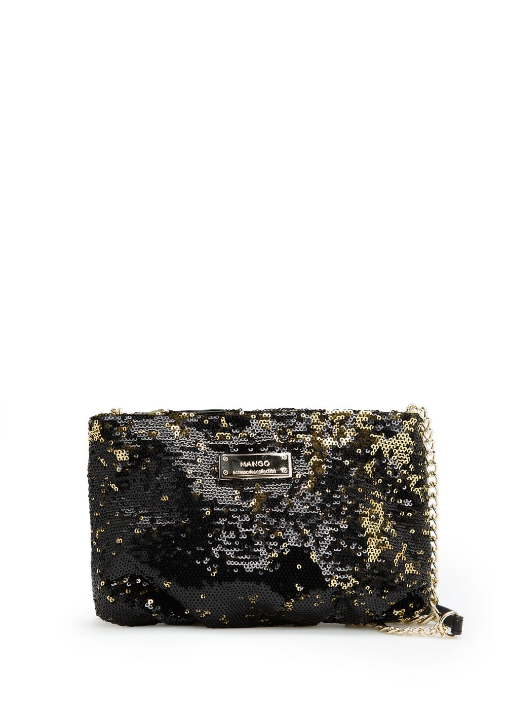 Bicolor sequin shoulder bag | MANGO
