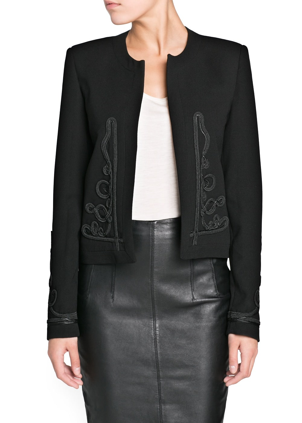Embroidered detail crepe jacket