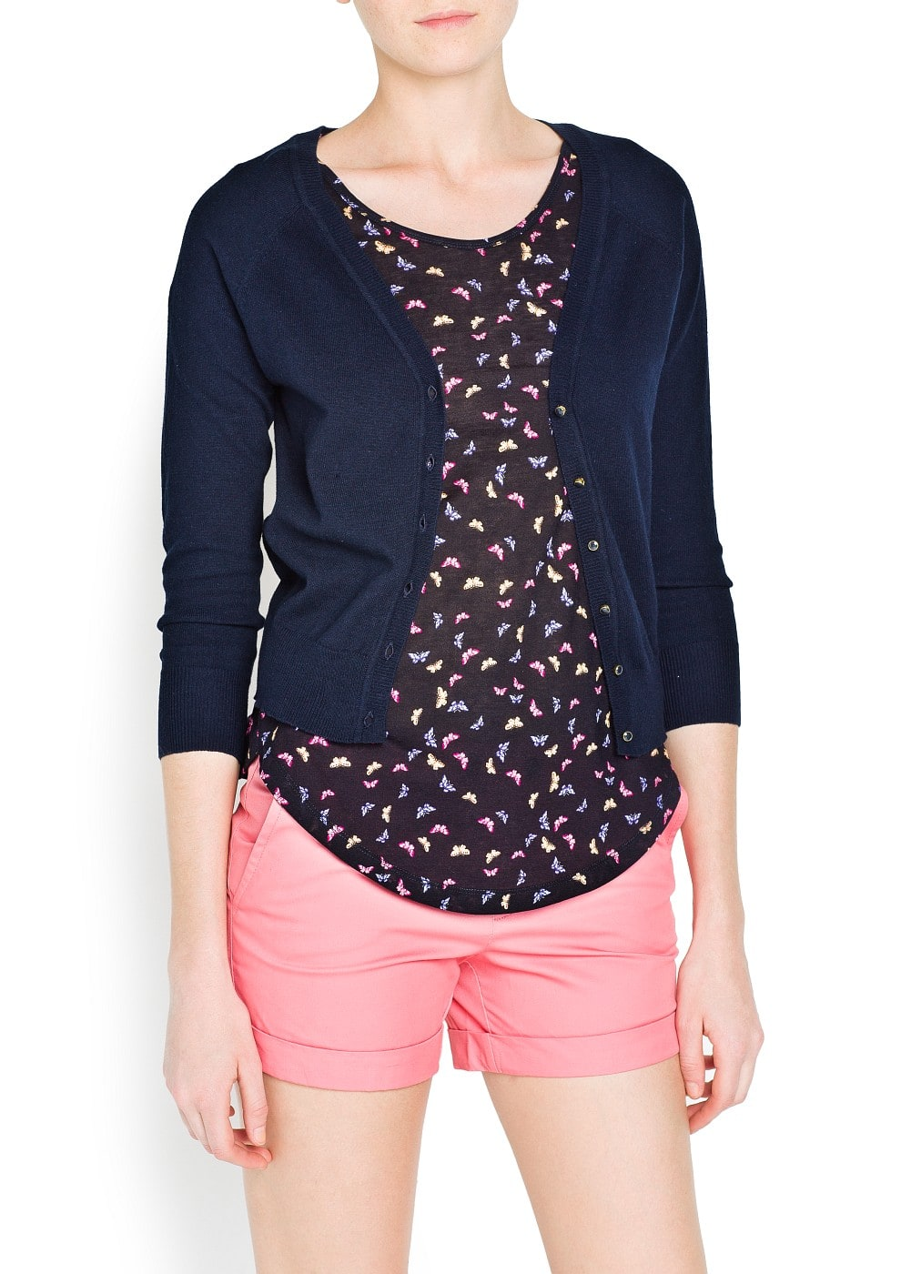 Enamel buttons cropped cardigan