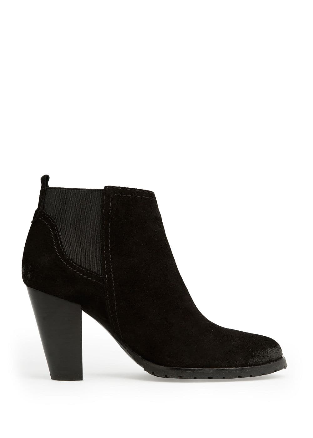 Suede ankle boots with elastic sides | MANGO