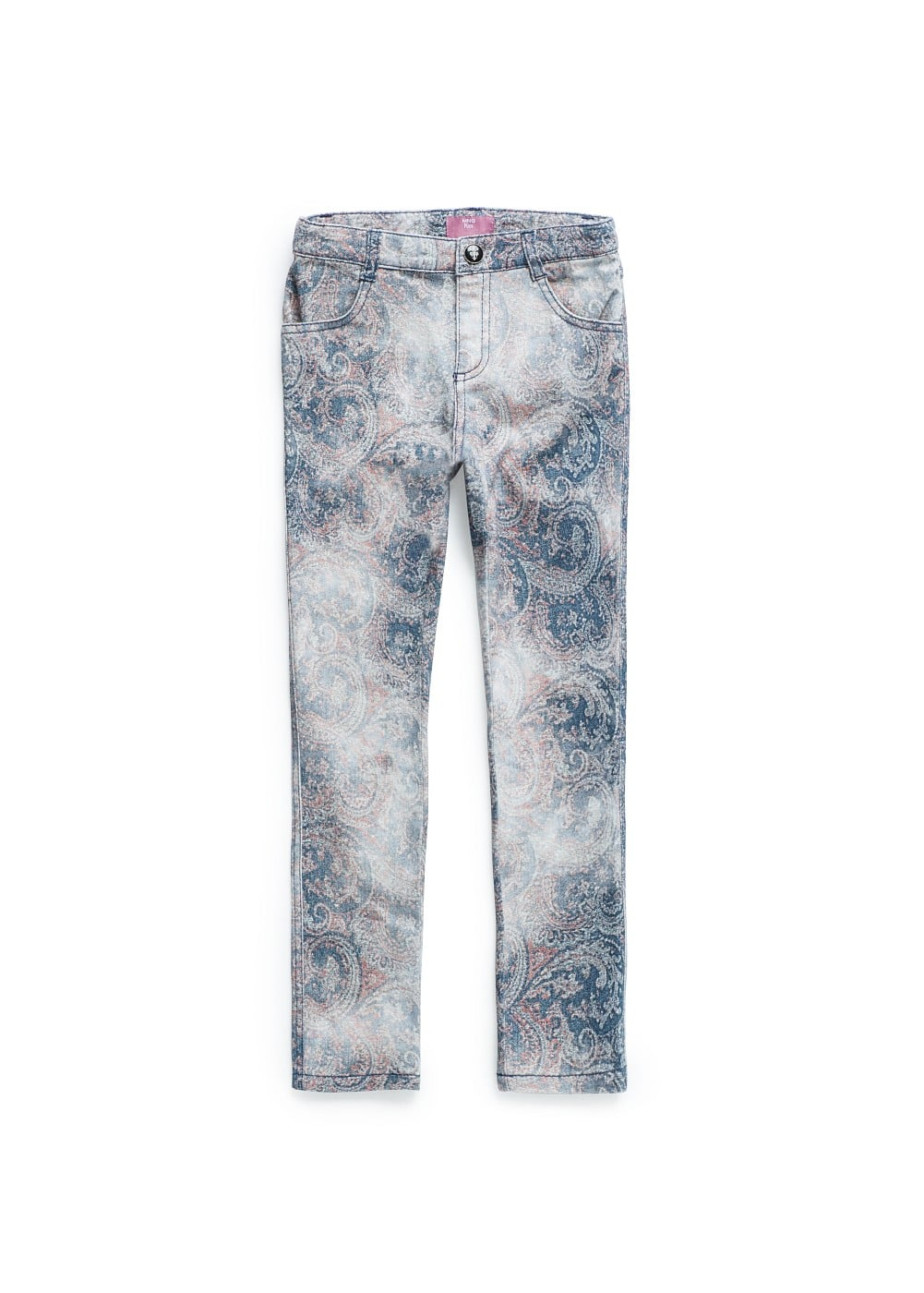 Pantalón denim estampado paisley