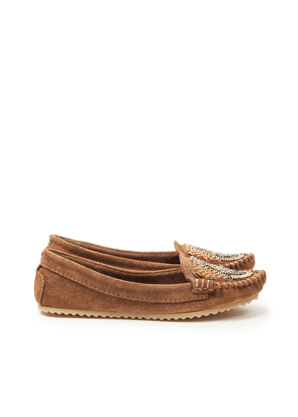 Beaded suede moccasins