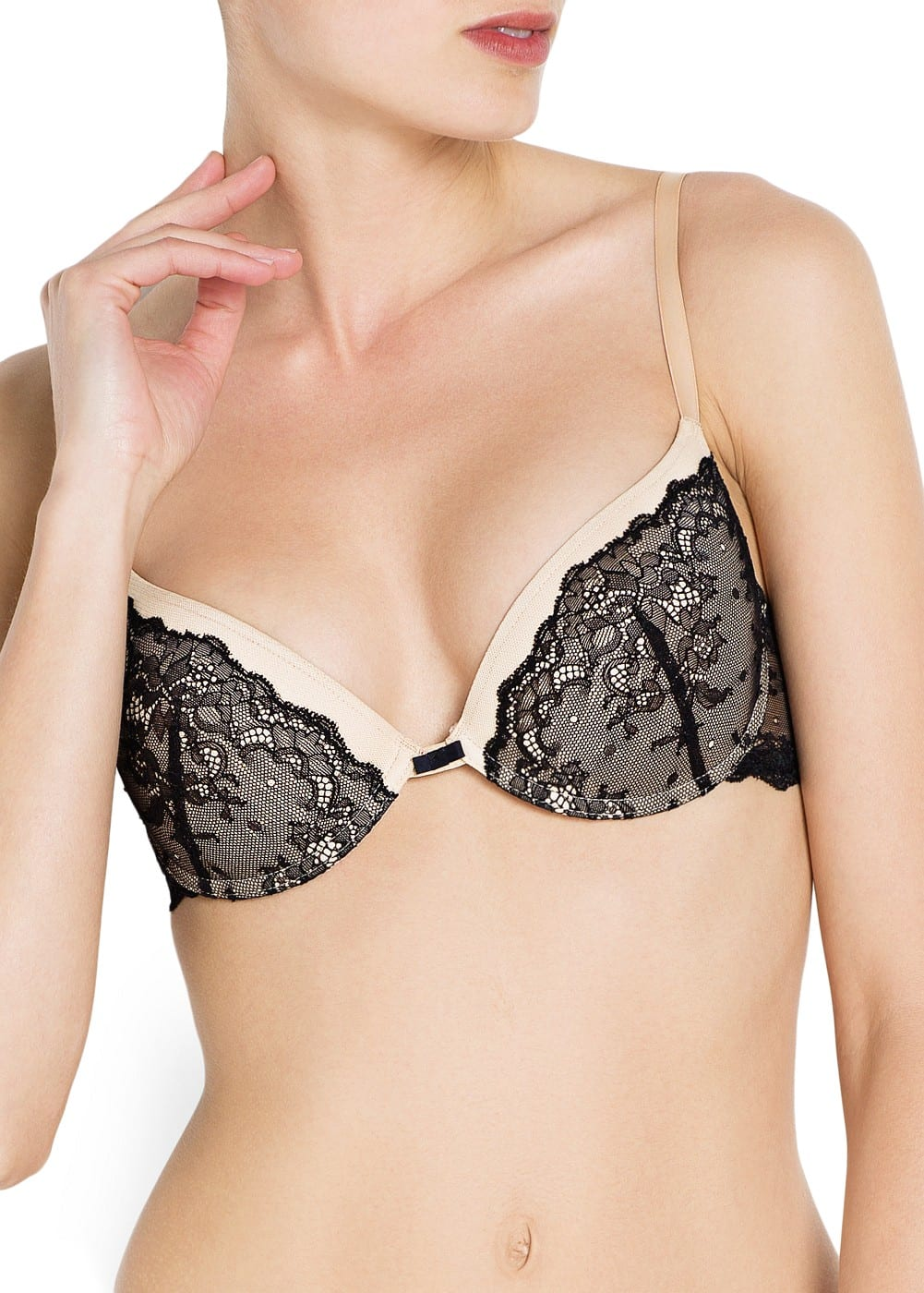 Bicolor lace push-up bra | MANGO