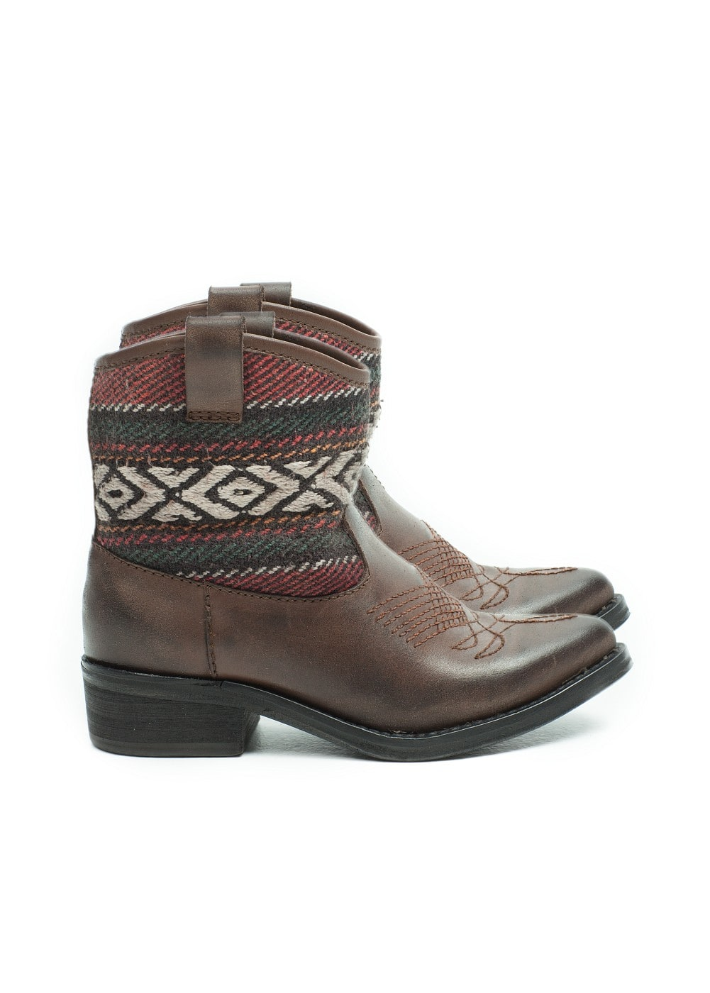 Ethnic motifs leather cowboy boots
