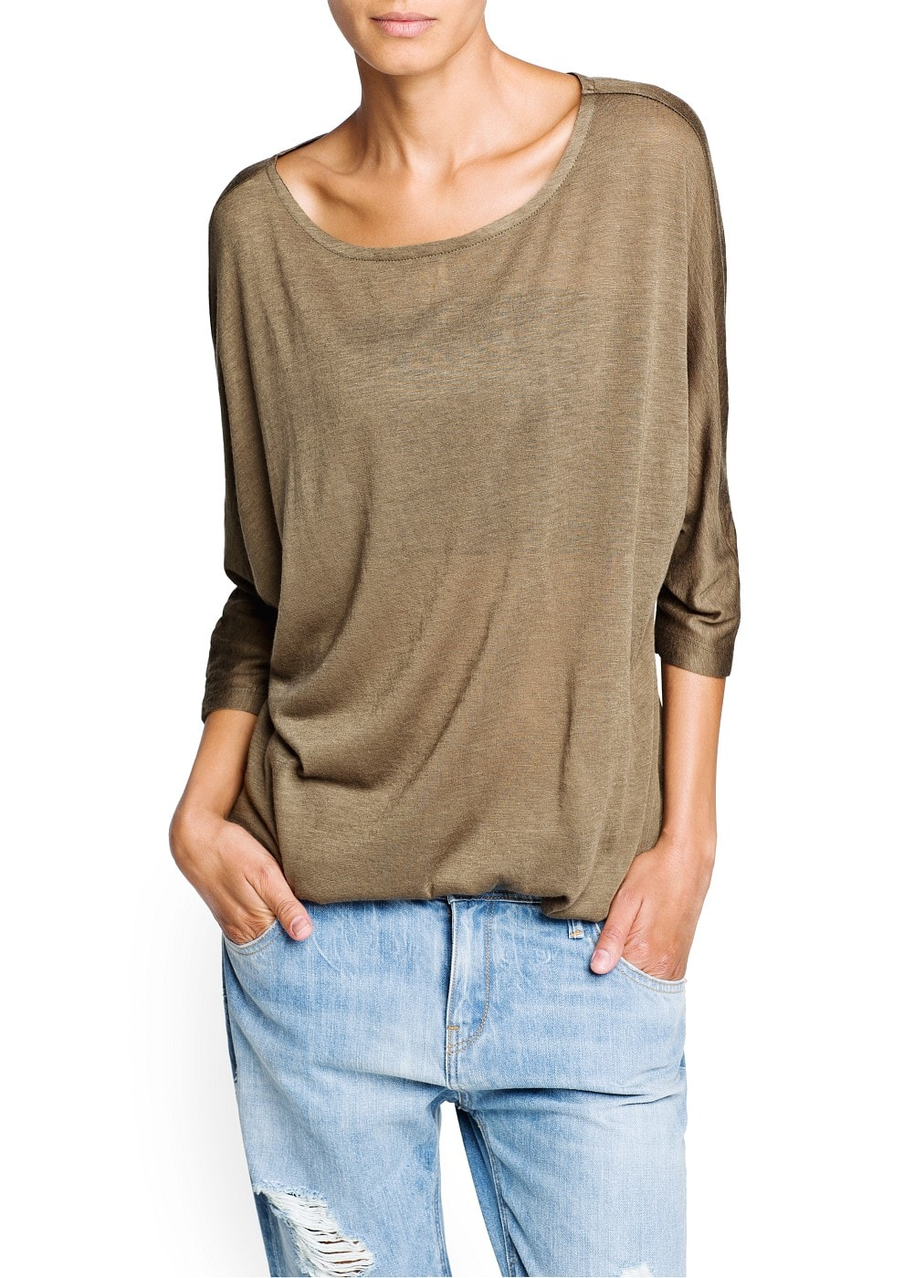 Dolman sleeve flecked t-shirt