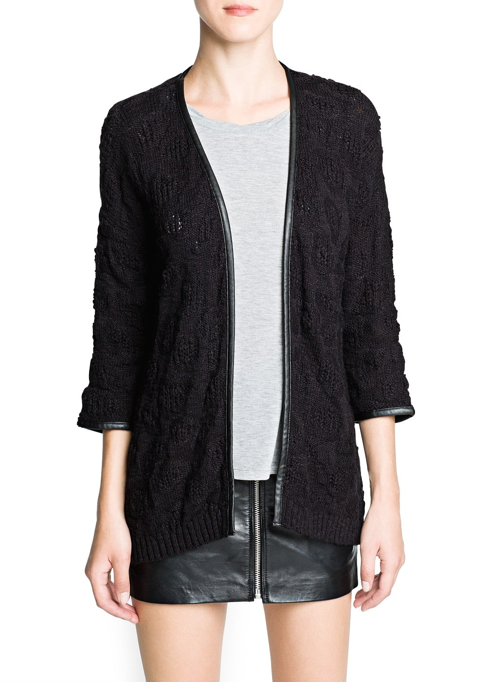 Faux leather trimming cotton cardigan | MANGO