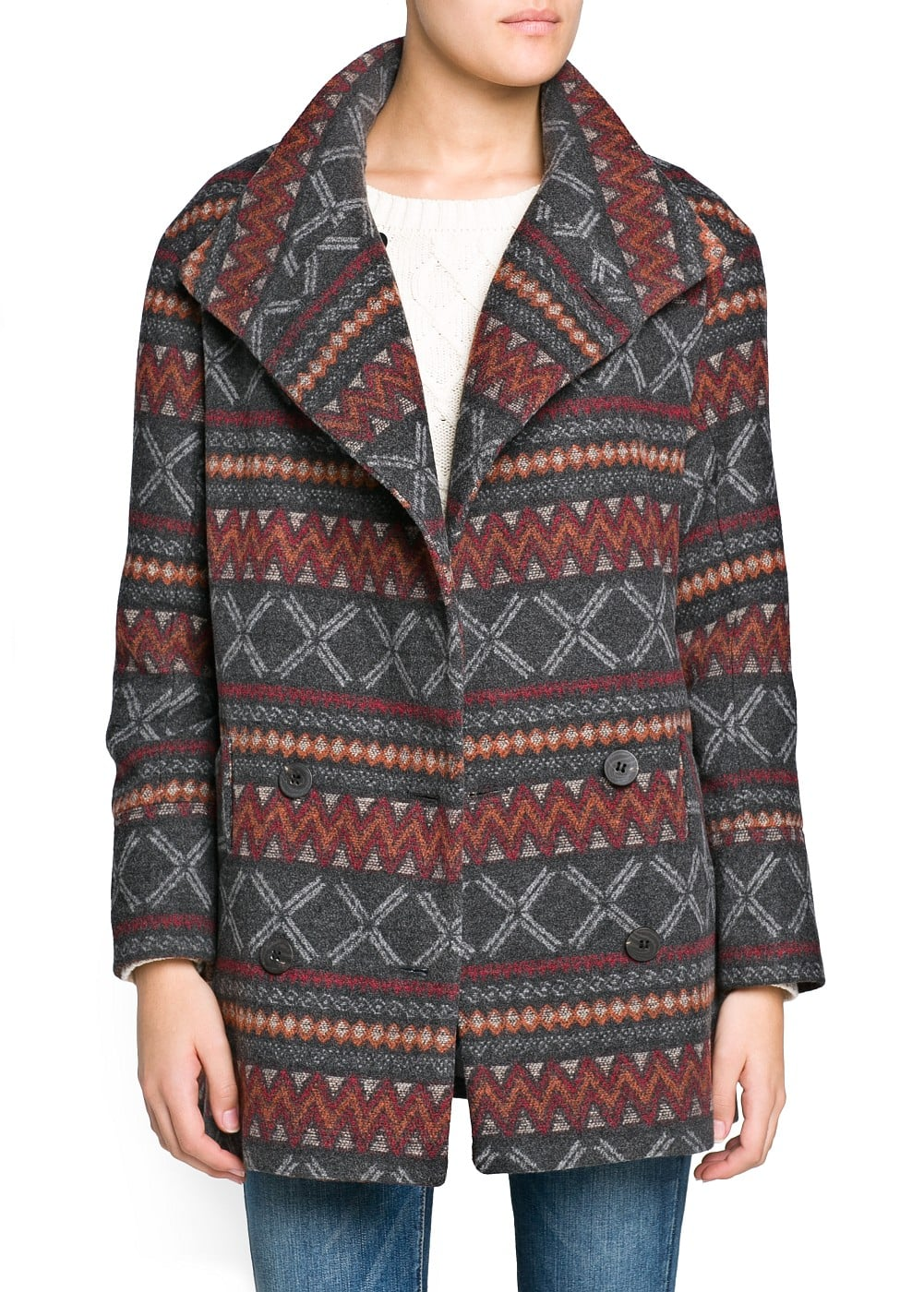 Ethnic pattern wool-blend coat