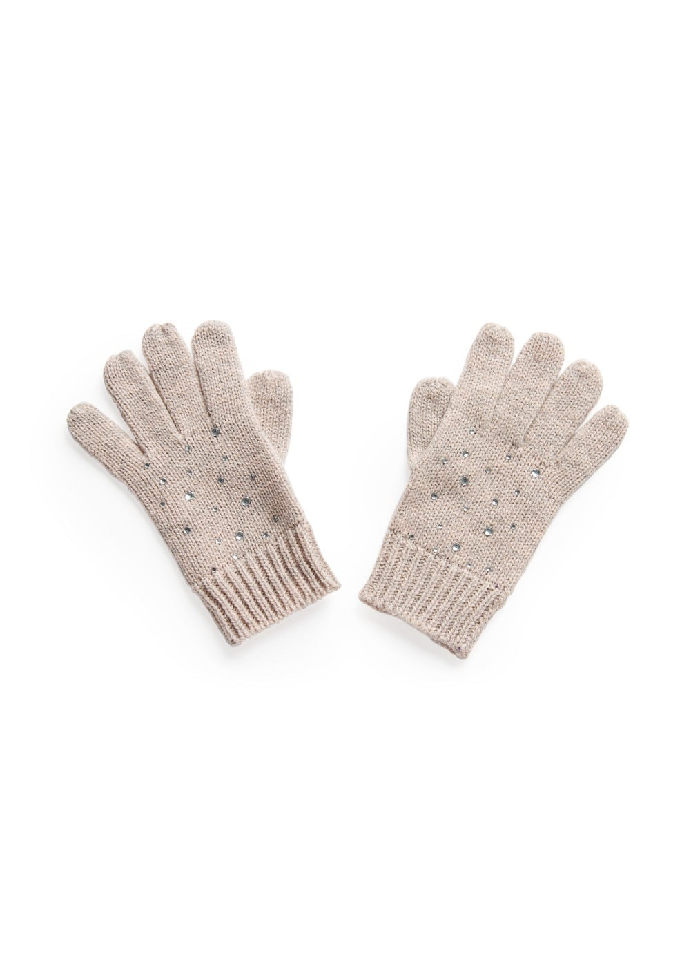 Rhinestones knit gloves