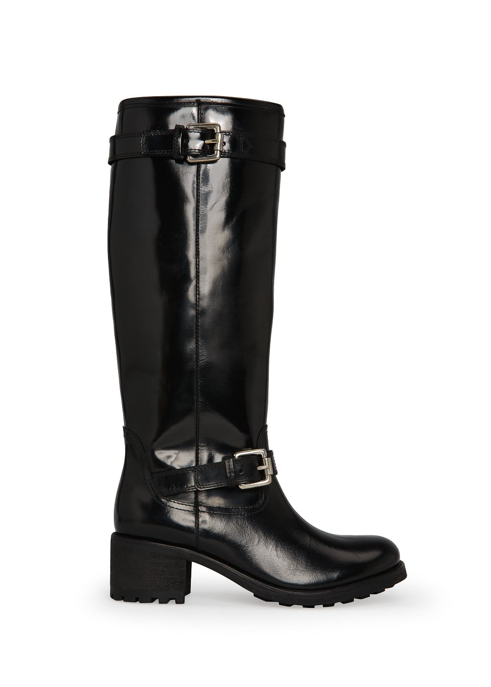 Glossed-leather knee boots