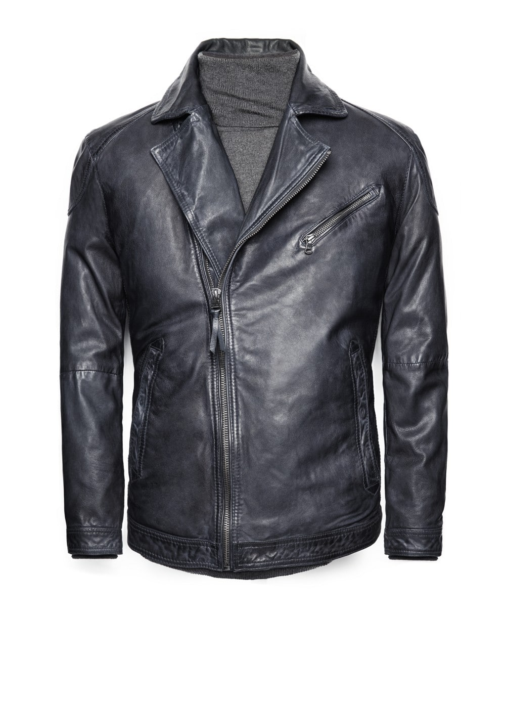 Elbow patch leather biker jacket