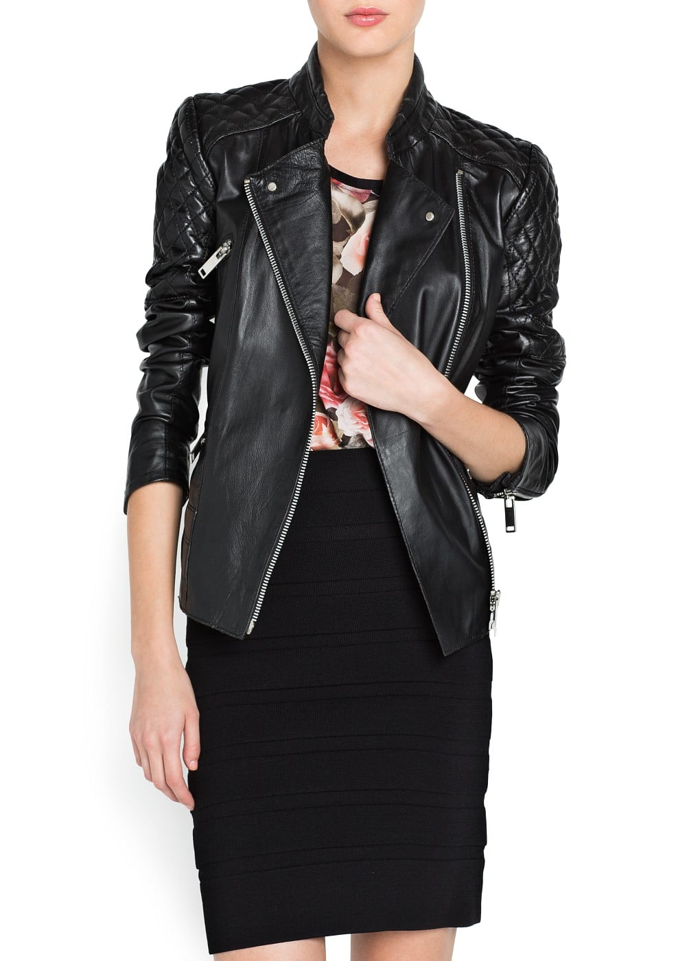 Quilted panels leather jacket | MANGO
