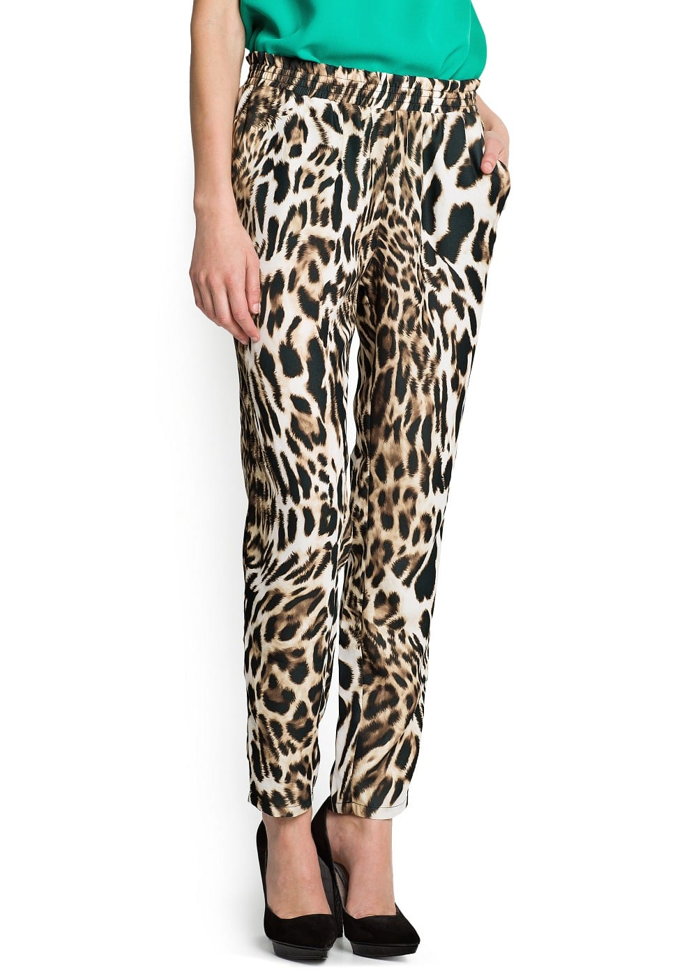 Leopard print satin-finish trousers