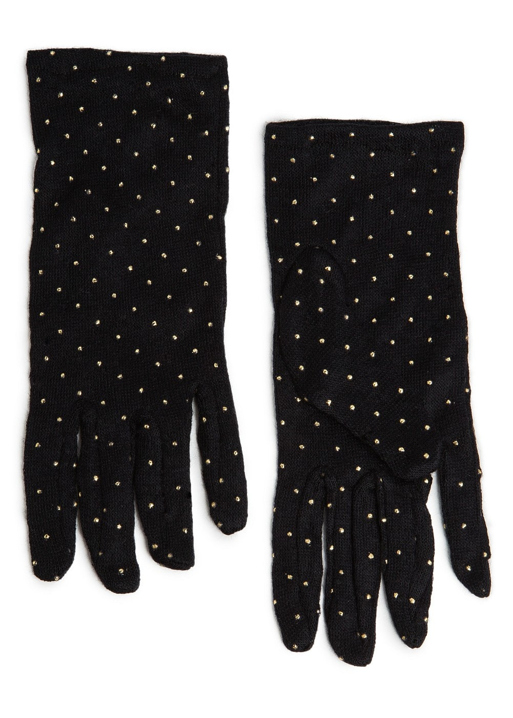 METALLIC POLKA-DOT PRINT GLOVES