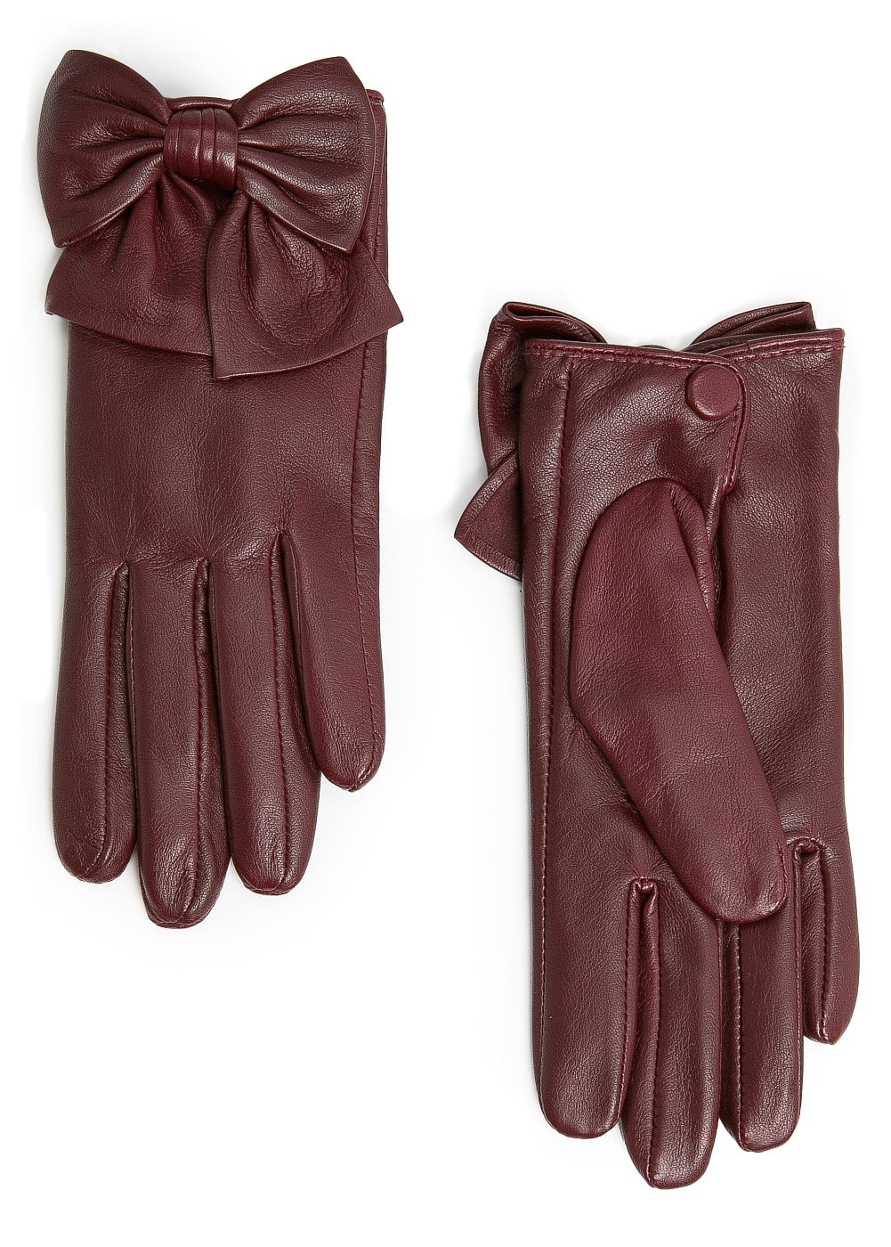 Bowknot leather gloves