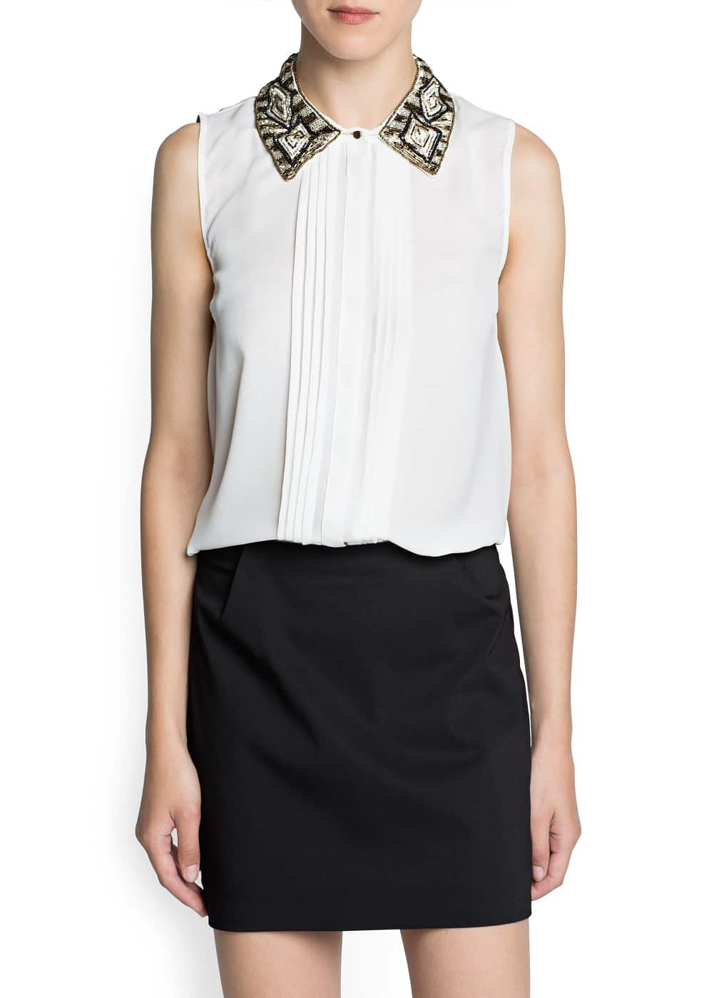 Beaded neck chiffon shirt | MANGO