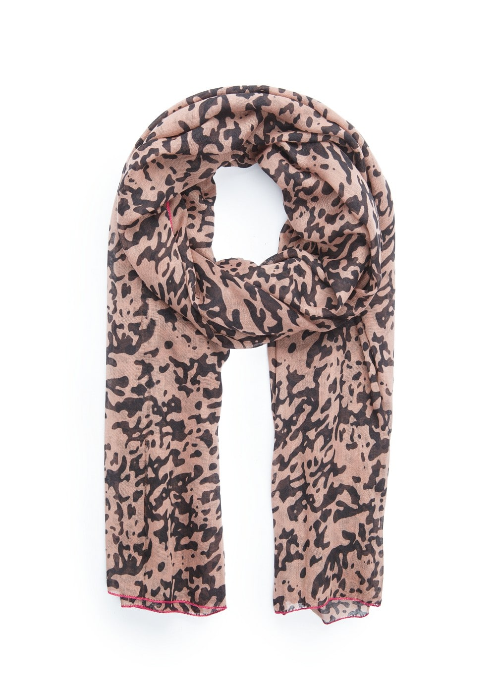Contrast edges leopard scarf