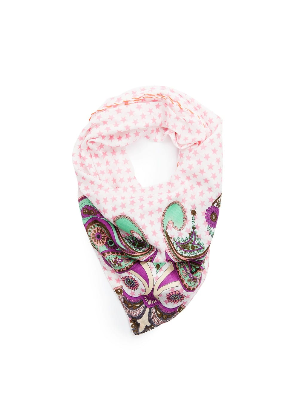 Paisley and star print scarf