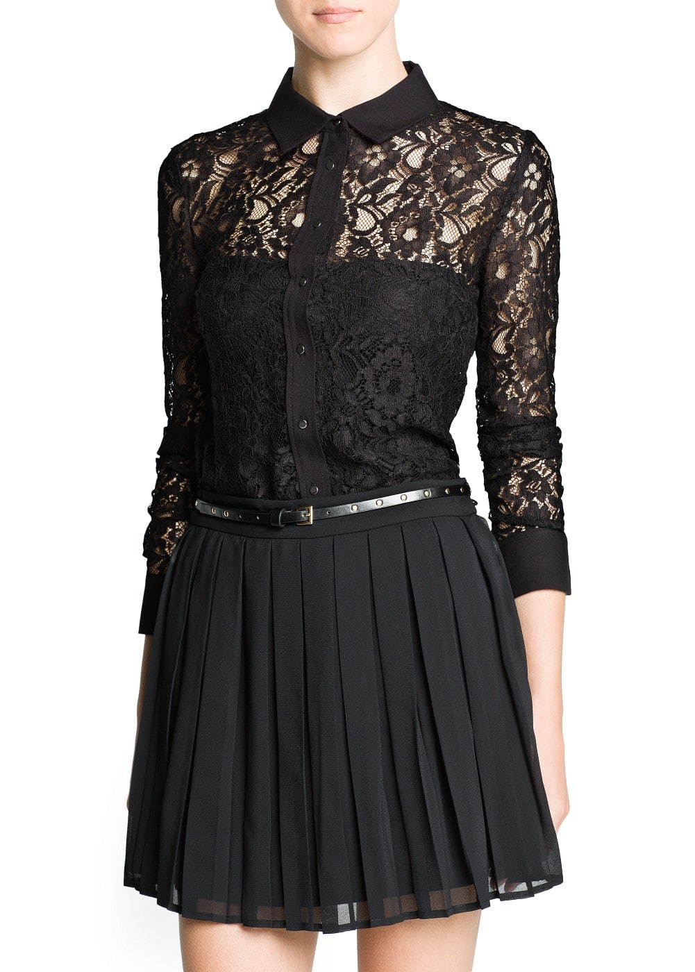 Contrast detail lace blouse