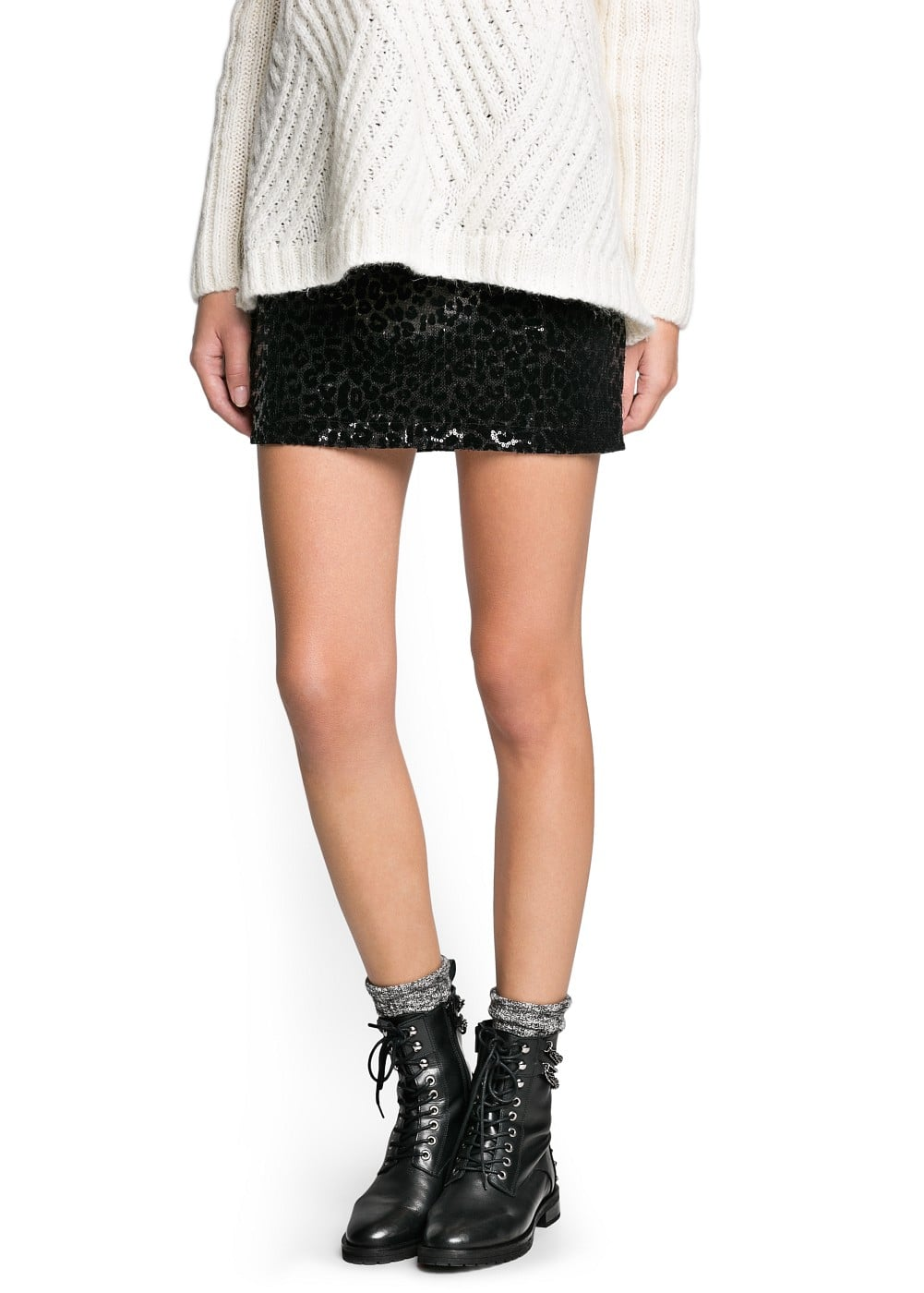 Sequin flocked miniskirt