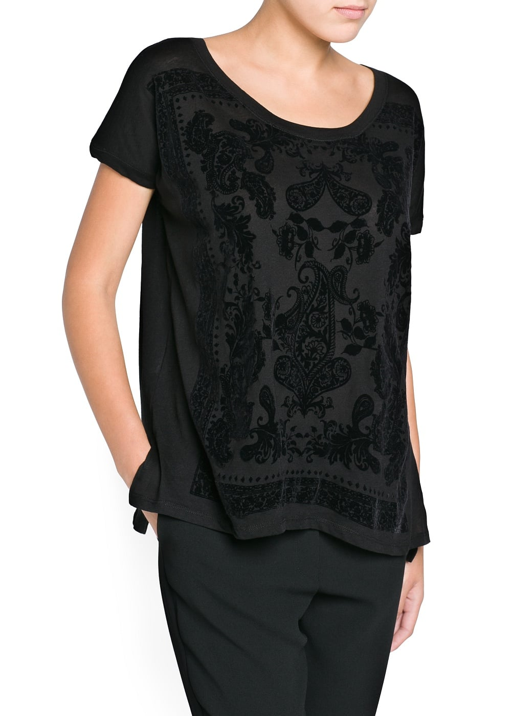 Flocked paisley t-shirt