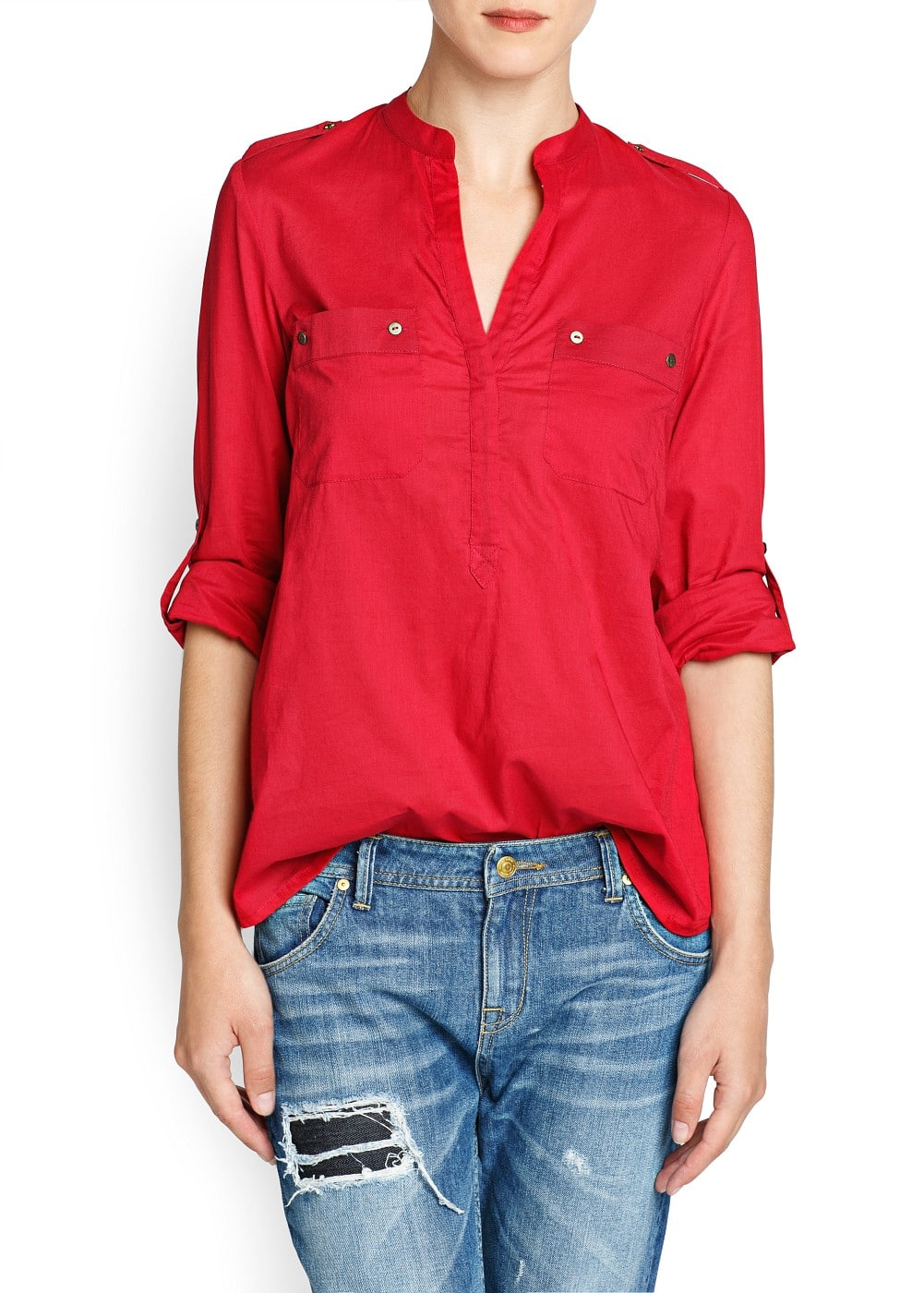 Long sleeved cotton blouse