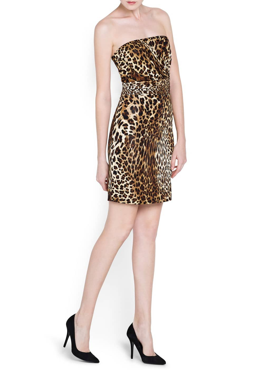 Leopard print strapless dress | MANGO