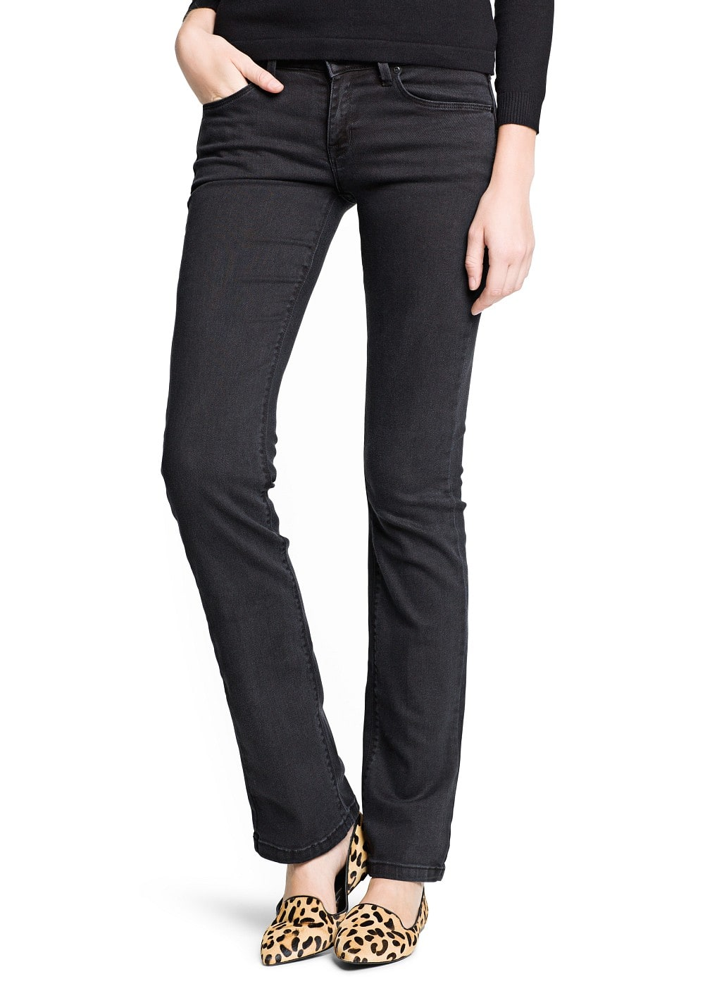 Straight-fit black jeans