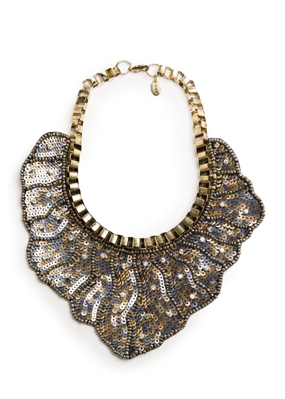 Sequined bib necklace