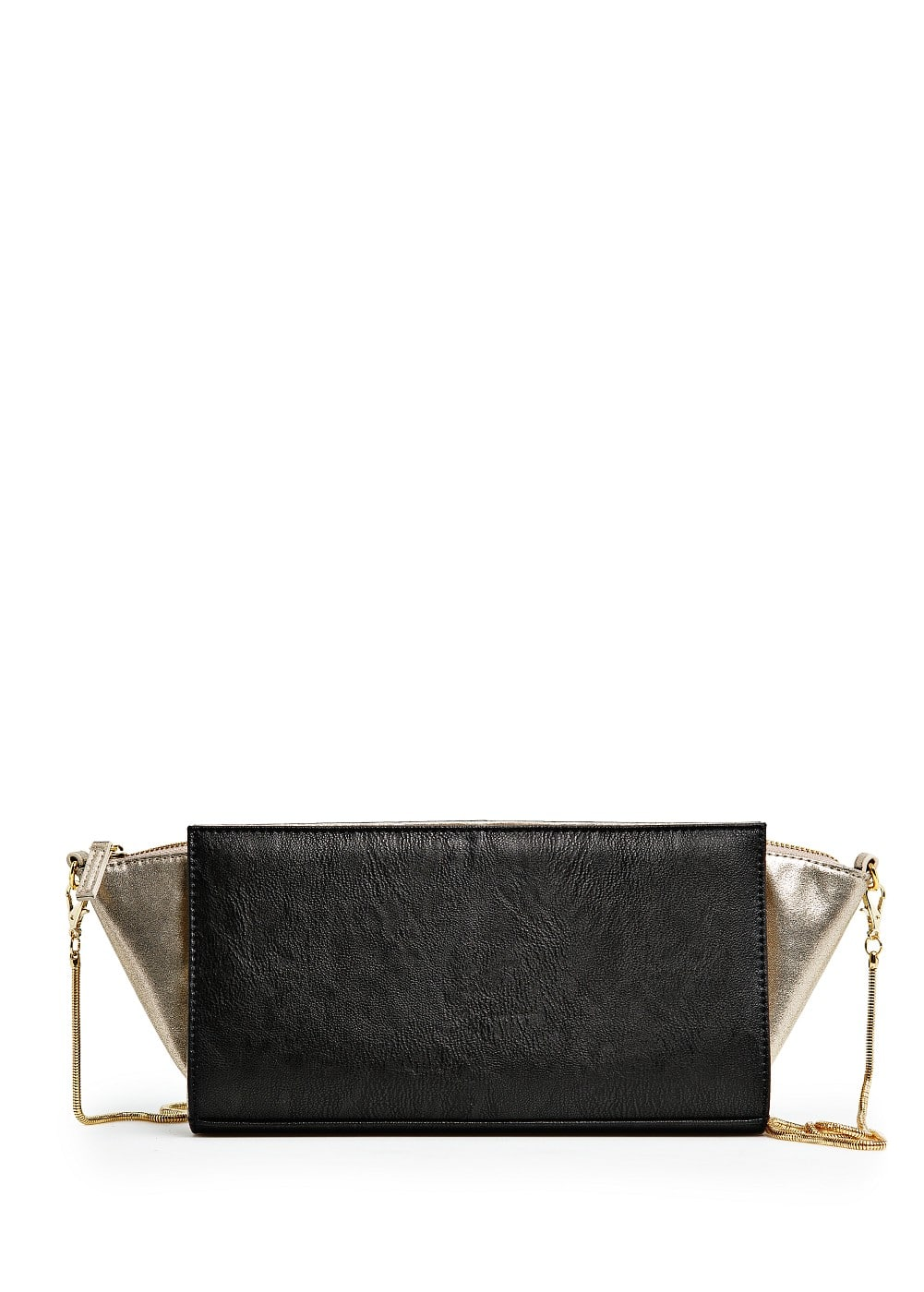 Metallic panels shoulder bag