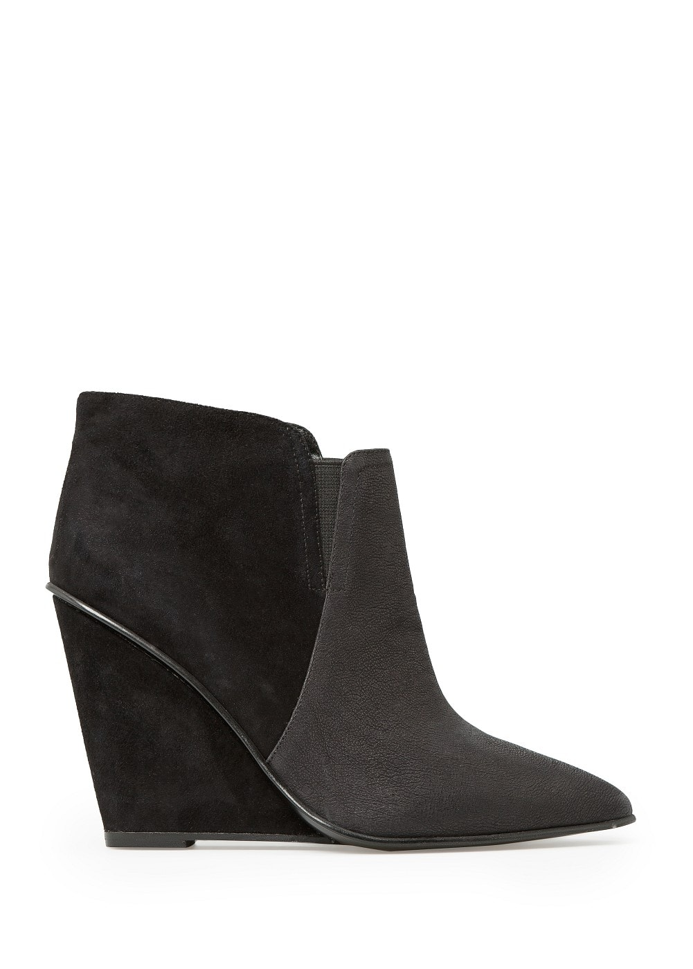 LEATHER AND SUEDE ANKLE BOOTS