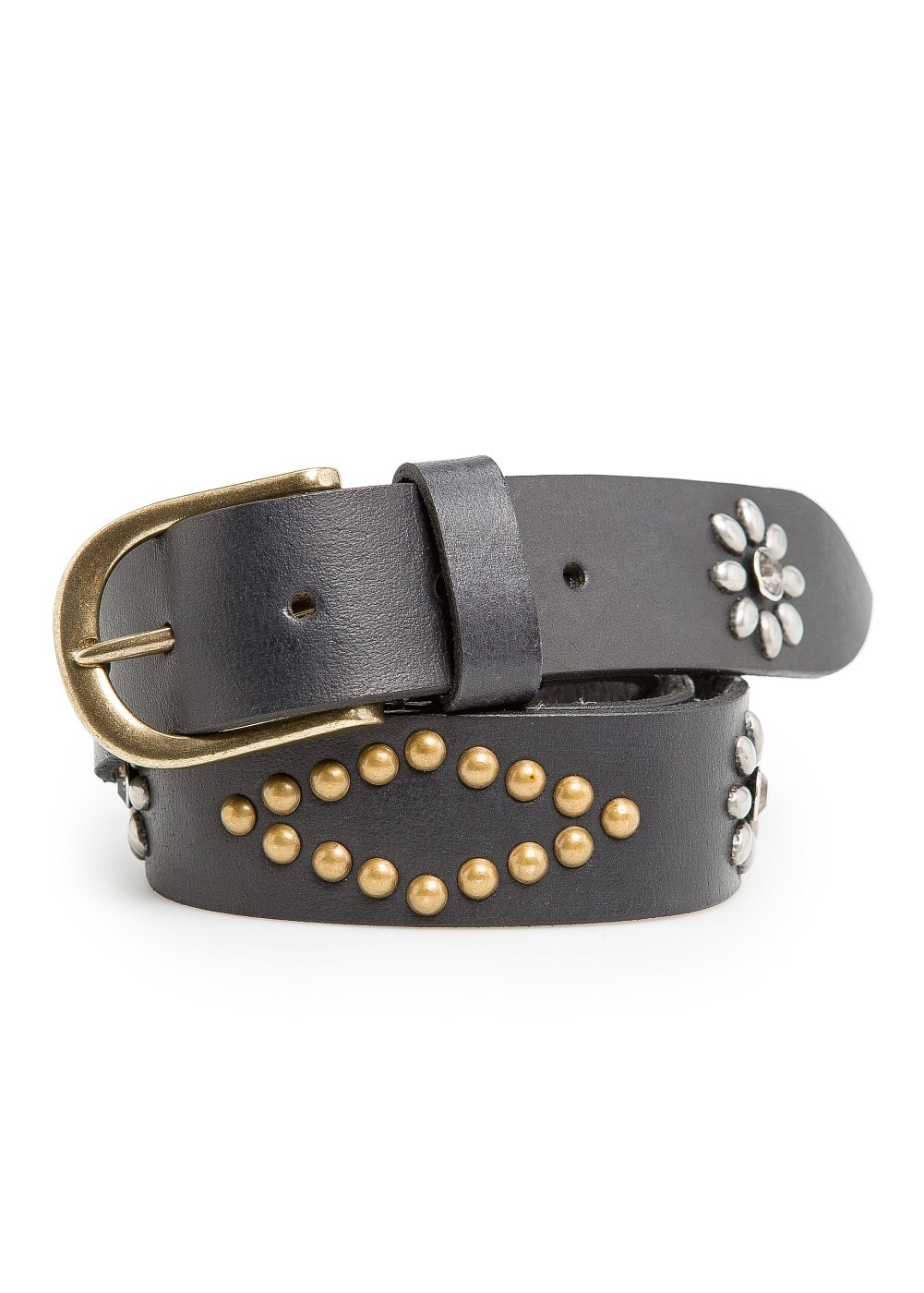 Crystals and studs leather belt | MANGO