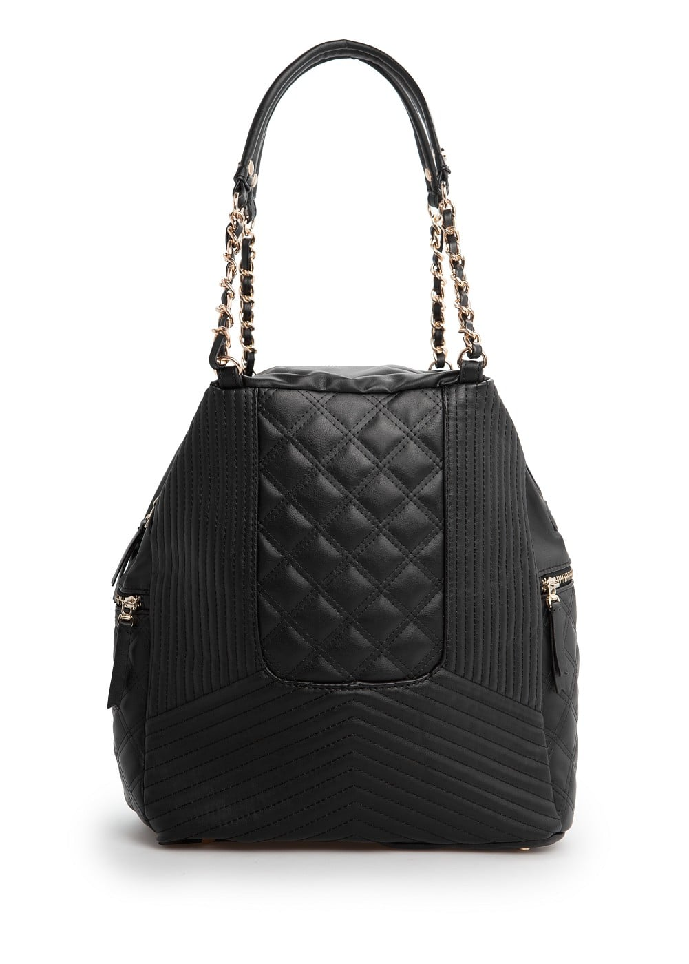 Faux leather quilted bag