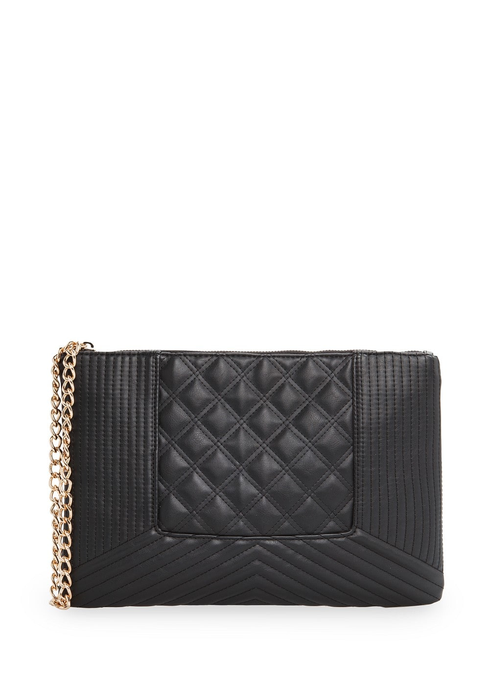 Faux leather quilted clutch