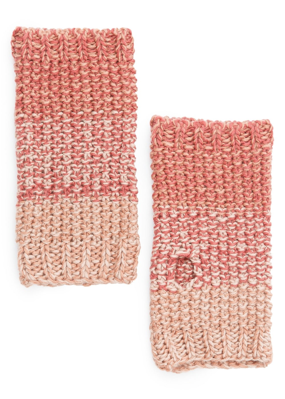 Ombré reverse knit fingerless gloves
