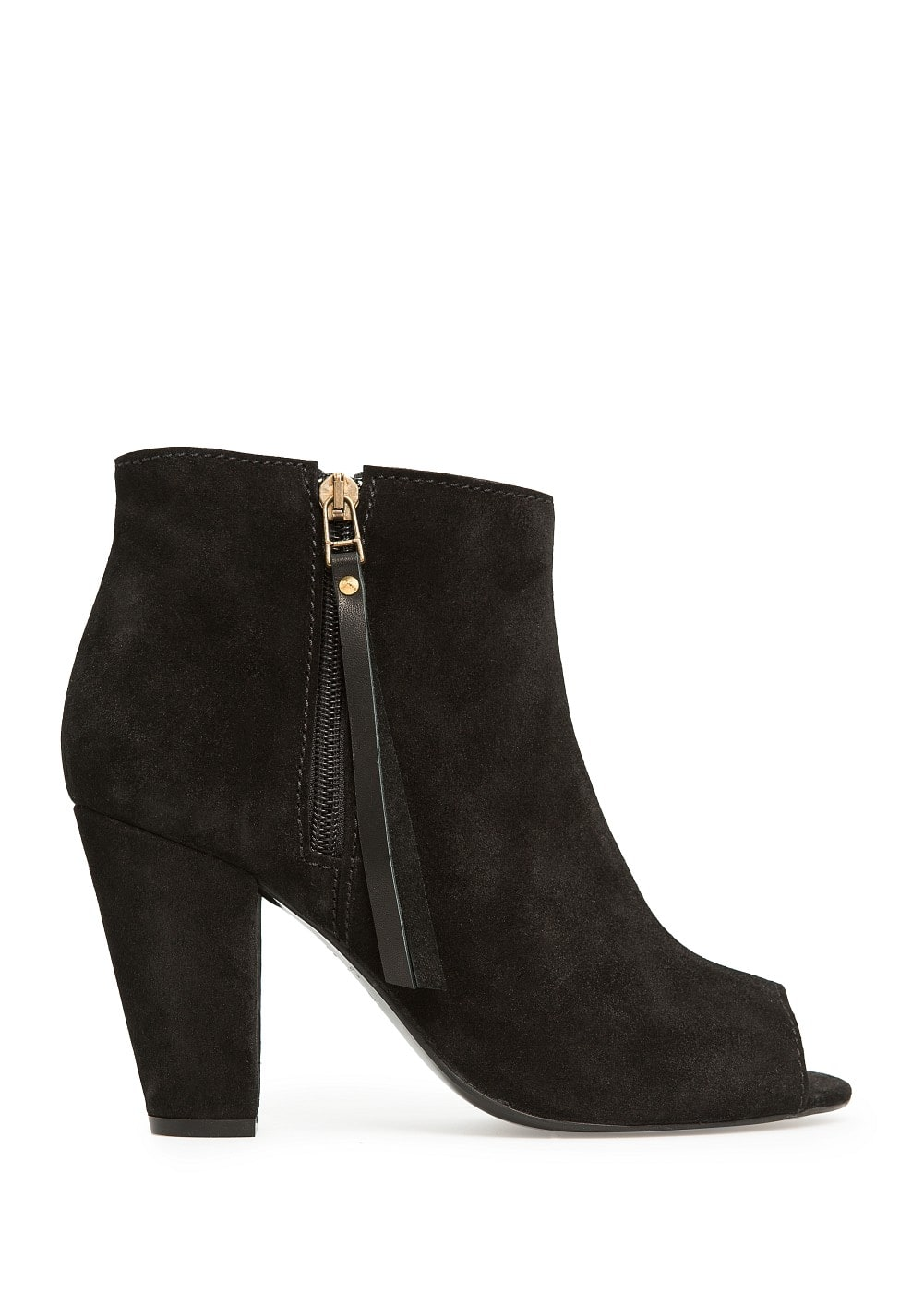 Peep-toe suede ankle boots | MANGO