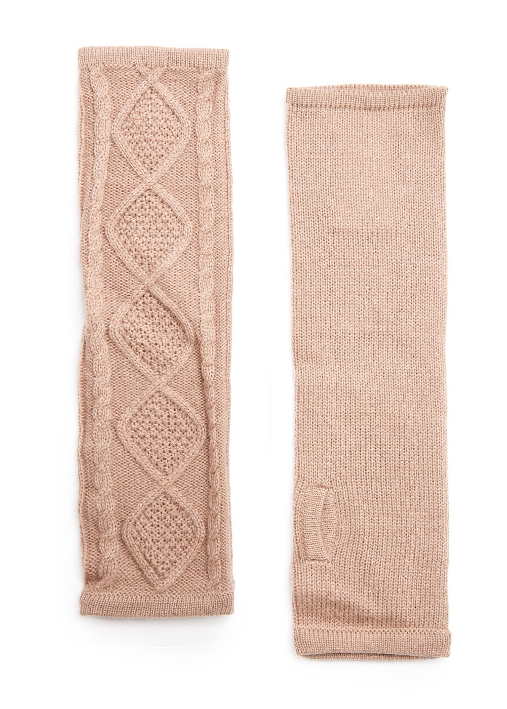 Cable-knit fingerless arm warmers