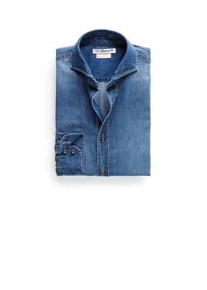 Slim-fit medium denim shirt