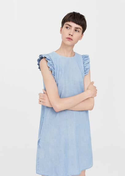 mango female mango frills denim dress