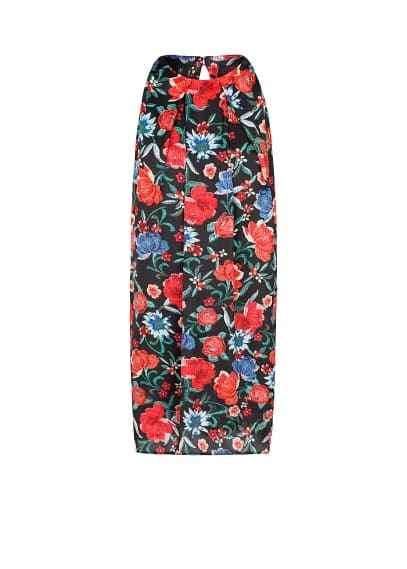 Satin-finish floral print dress