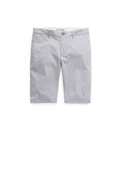 Check cotton-blend bermuda shorts