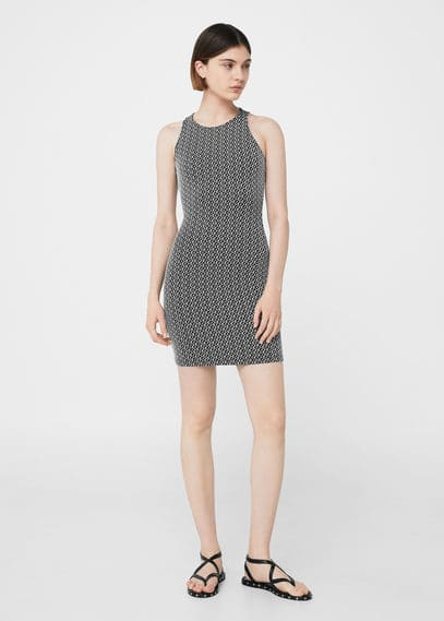 mango female mango fitted textured dress