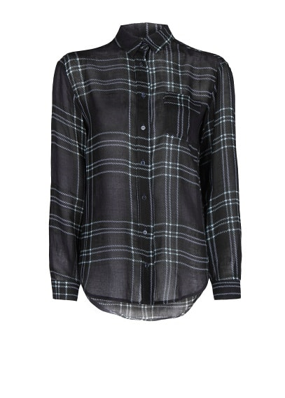 Check wool-blend shirt