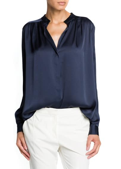 Satin finish flowy blouse